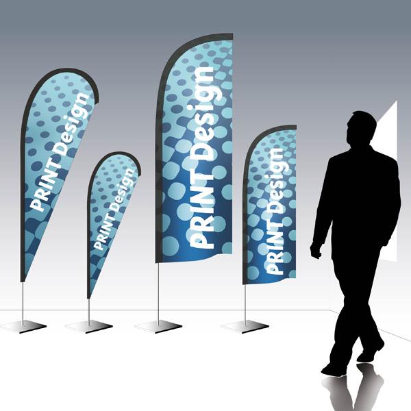 Drapeaux publicitaires personnalisables PLV Outdoor display