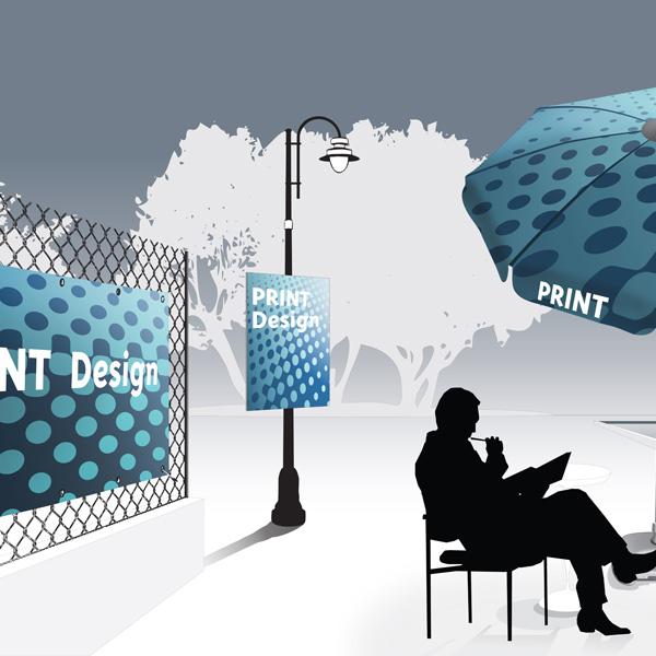 Gamme Event - Signalétique panneaux parasols personnalisables Outdoor-Display