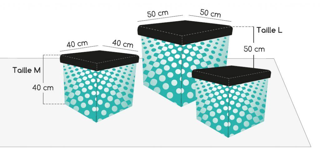 Flex cube-Puf pliable imprimé
